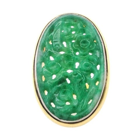 18k Yellow Gold & Platinum Carved Jade Antique Ring