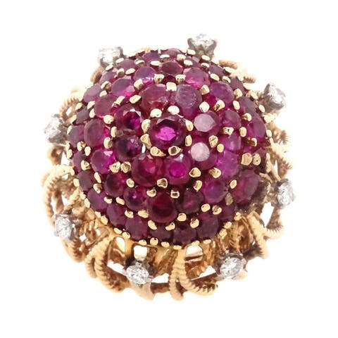 14k Yellow Gold 1960's Ruby Diamond Flower Dome Ring (H-I,VS1-VS2)