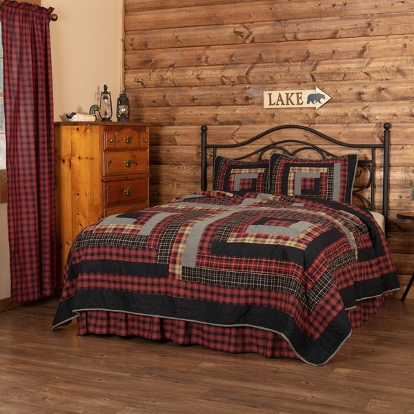 Red Rustic Bedding VHC Cumberland Quilt Set Cotton Patchwork Chambray (Quilt, Sham)