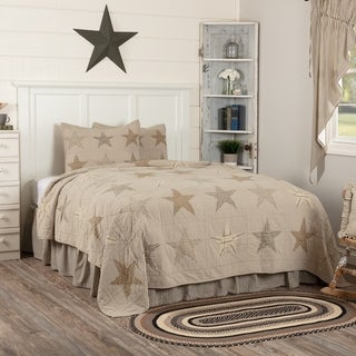 Tan Farmhouse Bedding VHC Sawyer Mill Star Quilt Set Cotton Star Chambray (Quilt, Sham)