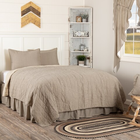 White Farmhouse Bedding Miller Farm Ticking Stripe Quilt Set Cotton Striped (Quilt, Sham)