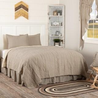 White Farmhouse Bedding Miller Farm Ticking Stripe Quilt Set Cotton Striped (Quilt, Sham)