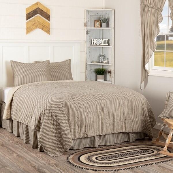 White Farmhouse Bedding VHC Sawyer Mill Ticking Stripe Quilt Set Cotton Striped (Quilt, Sham)