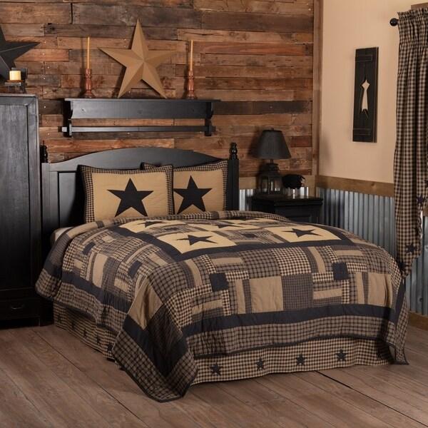 Black Primitive Bedding VHC Black Check Star Quilt Set Cotton Star Appliqued (Quilt, Sham)