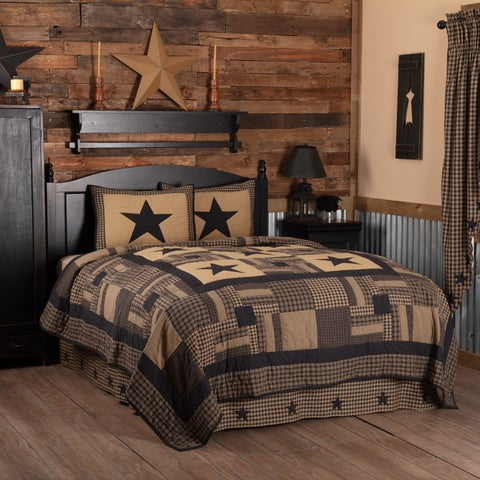 Black Primitive Bedding VHC Black Check Star Quilt Set Cotton Star Appliqued (Quilt, Sham)
