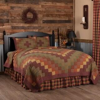 Red Primitive Bedding Settlement Quilt Set Cotton Star Patchwork (Quilt, Sham)