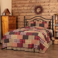 Red Rustic & Lodge Bedding VHC Wyatt Quilt Set Cotton Plaid Patchwork (Quilt, Sham)