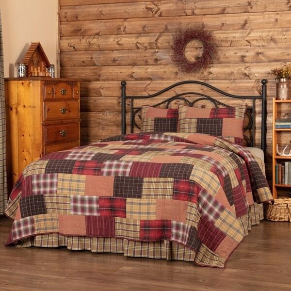 Red Rustic & Lodge Bedding VHC Wyatt Quilt Set Cotton Plaid Patchwork (Quilt, Sham)
