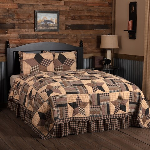 Black Country Bedding Denton Quilt Set Cotton Star Patchwork (Quilt, Sham)