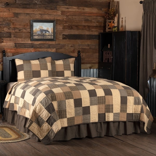 Black Primitive Bedding Prim Grove Quilt Set Cotton Patchwork (Quilt, Sham)