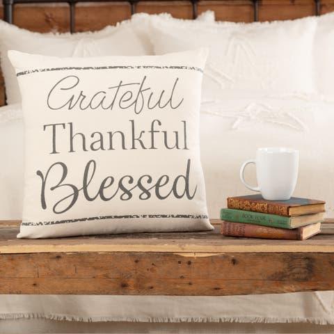 Casement Natural Grateful Thankful Blessed Pillow 18x18