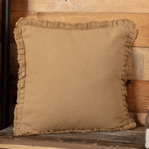 Burlap Pillow w/ Fringed Ruffle 18x18