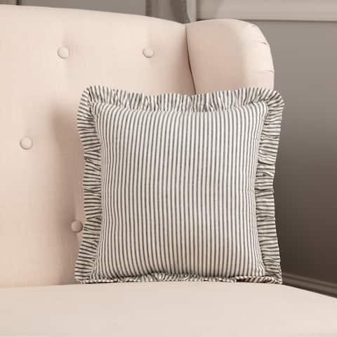 Blue Americana Bedding VHC Hatteras Seersucker Blue Ticking Stripe 12x12 Pillow Cotton Striped Seersucker