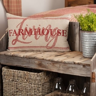 Sawyer Mill Red Farmhouse Living Grainstrip Pillow 14x22