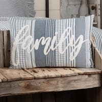 Farmhouse Bedding Miller Farm Family 14x22 Pillow Cotton Text Appliqued Chambray (Pillow Cover, Pillow Insert) Rectangle