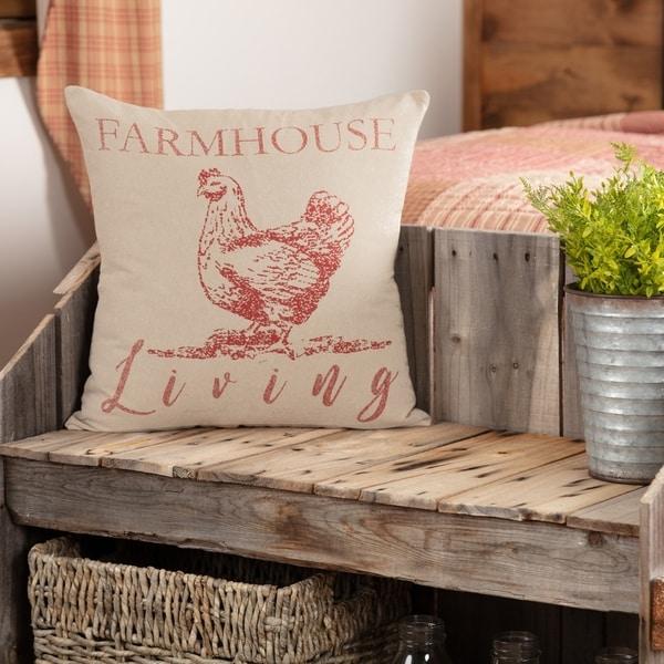 Sawyer Mill Red Farmhouse Living Chicken Pillow 18x18