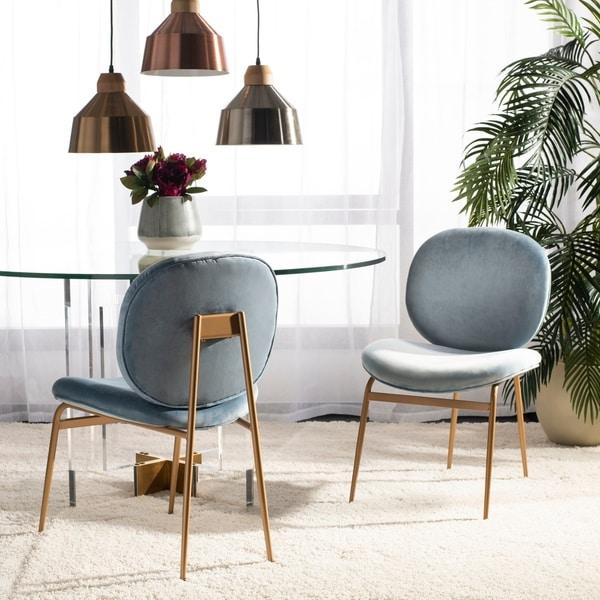 "Safavieh Jack Sky Blue Corner Chair Home Decor Accent: Shop Safavieh Jordana 18"" Round Side Chair -Slate Blue"