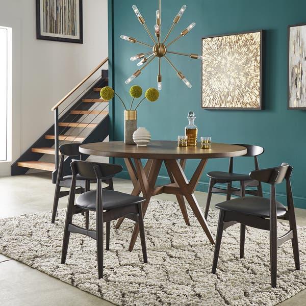 Shop Carson Carrington Tiboke Mid Century Modern Walnut Dining Table Overstock 26275427 Walnut Finish Top