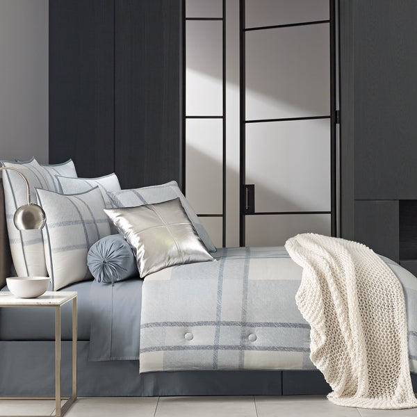 Five Queens Court Langdon Blue Twill Cotton 4 Piece Comforter Set