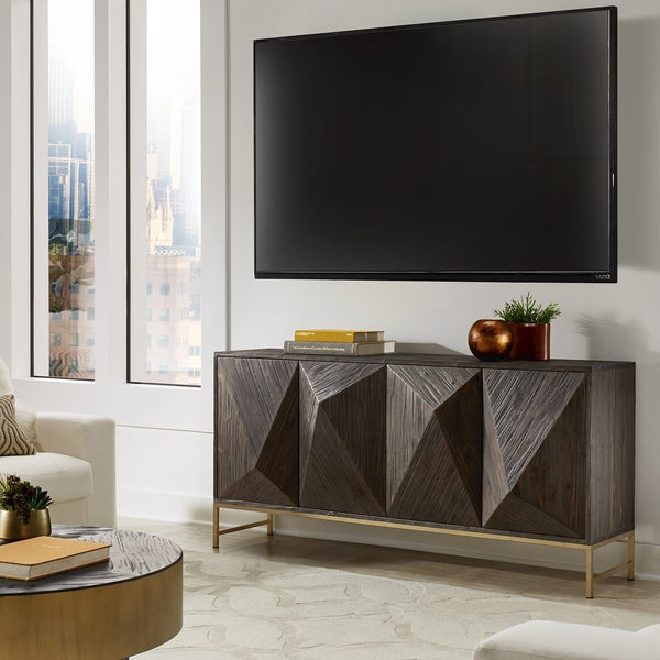 Moffit Antique Gold Finish Angled Reclaimed Wood Buffet by iNSPIRE Q Modern