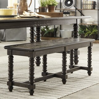 Vergamont Dark Espresso Finish Dining Bench with 6 Beaded Legs by iNSPIRE Q Artisan