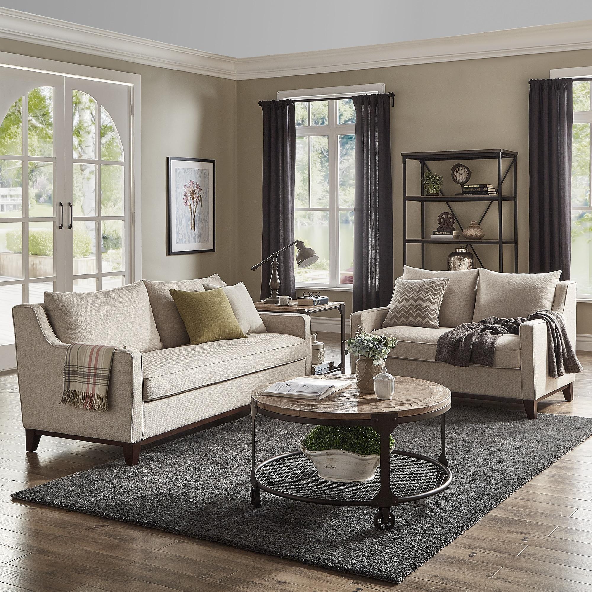 Copper Grove Harzburg Oatmeel Tweed Sofa And Loveseat Set