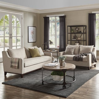 Copper Grove Harzburg Oatmeal Tweed Sofa and Loveseat Set