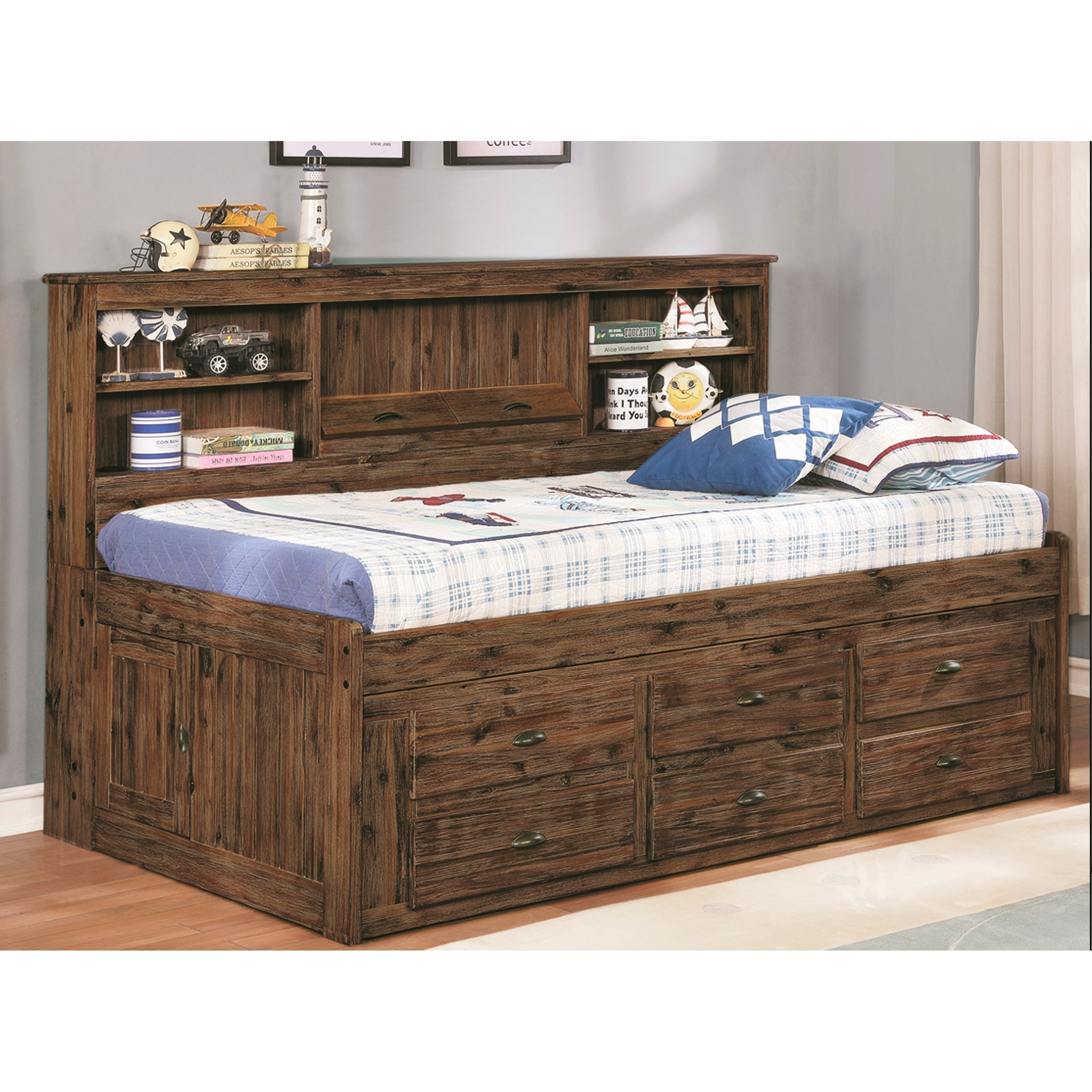 - Shop Solid Hardwood Twin Daybed With Six Drawers And Bookcase - On