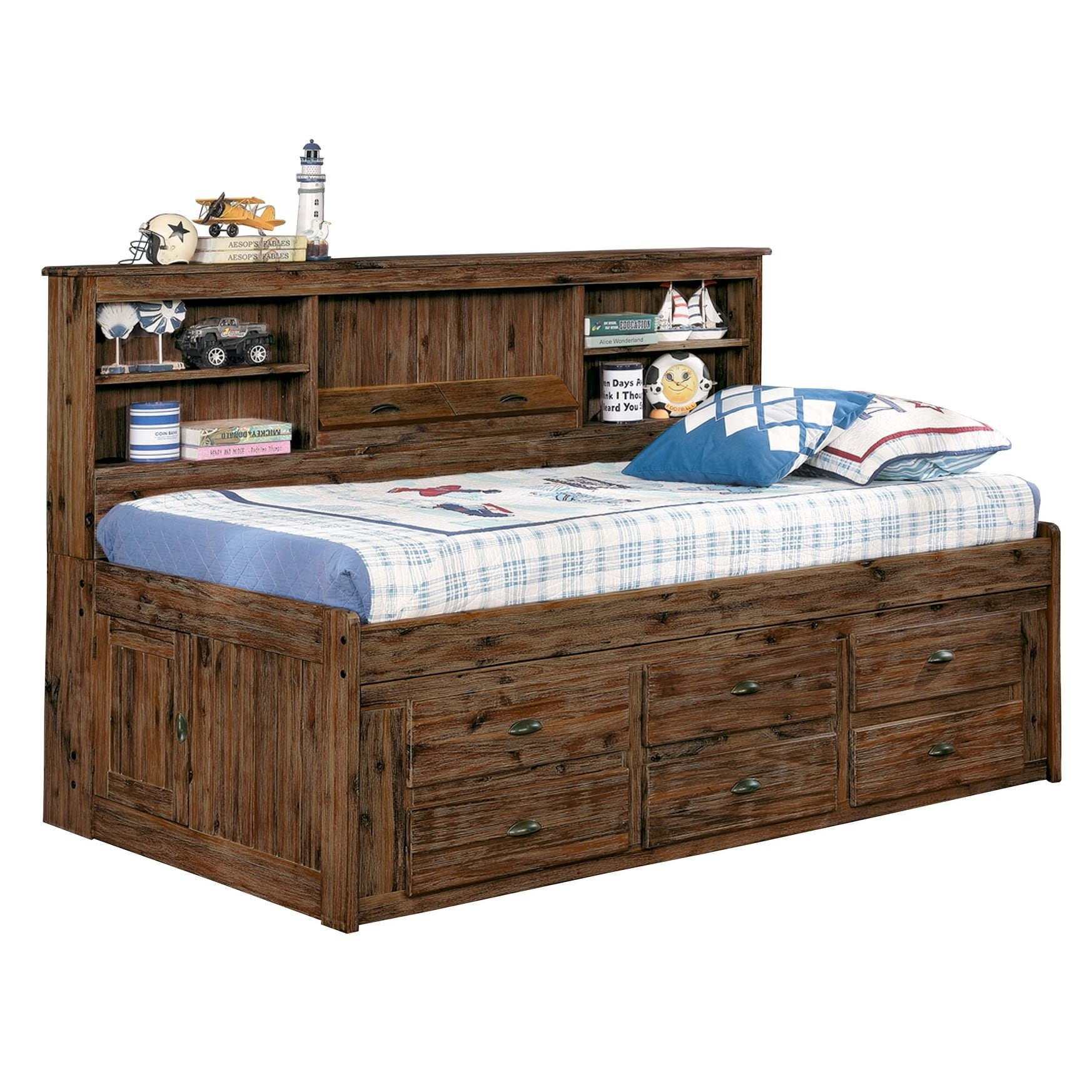 Solid Hardwood Twin Daybed With Six Drawers And Bookcase