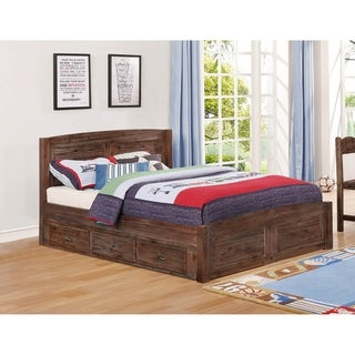 American Furniture Classics Full Sized Platform bed with Three Underbed Drawers in Solid Acacia Hardwoods