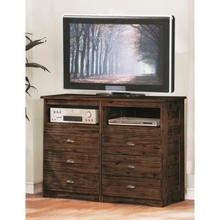 American Furniture Classics Assembled Entertainment Chest with Six Drawers in Solid Acacia Hardwoods and Veneers