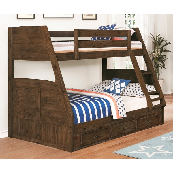 Solid Acacia Wood Twin Full Bunk Bed And Three Drawers In Chestnut