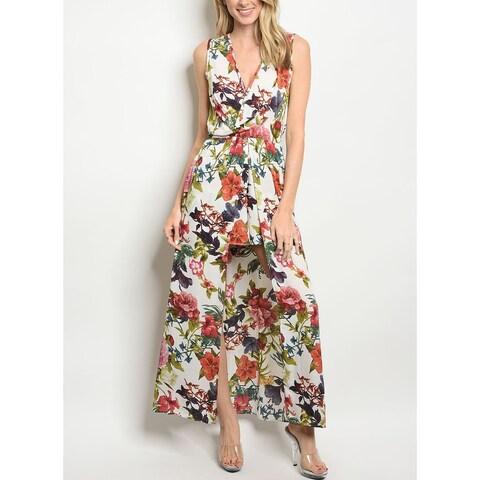 JED Women's Sleeveless Floral Skirt Romper