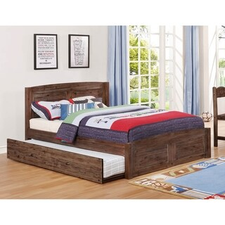 American Furniture Classics Full Sized Platform bed with Twin Sized Roll Out Trundle Unit in Solid Acacia Hardwoods