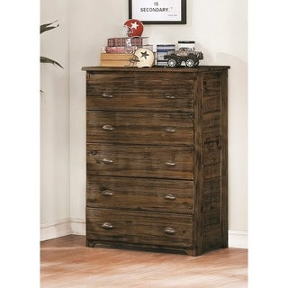 American Furniture Classics Assembled Five Drawer Chest in Solid Acacia Hardwoods and Veneers.