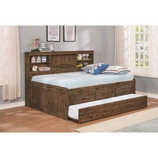 Solid Acacia Full Sized Daybed with Three Drawers, Twin Sized Trundle Unit andStorage Headboard