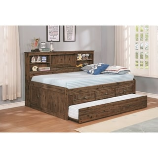 Solid Acacia Full Bed Three Drawers Twin Trundle and Storage Headboard
