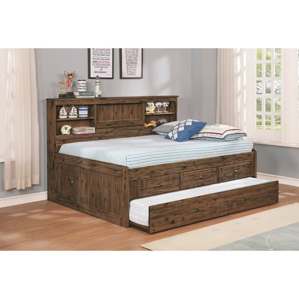 Solid Acacia Full Bed Three Drawers Twin Trundle And