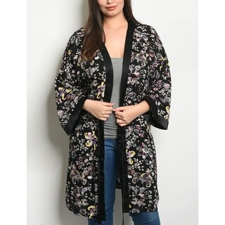 JED Women's Plus Size Black Floral Kimono with Waist Tie