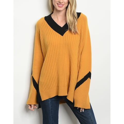 JED Women's Oversized V-Neck Pull-Over Sweater Tunic