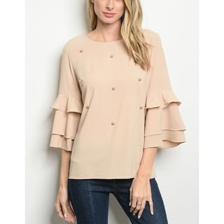 JED Women's Pearl Details Ruffle Sleeve Top