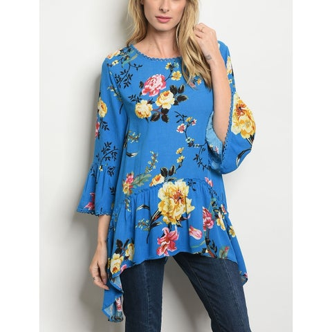 JED Women's 3/4 Sleeve Flowy Floral Tunic Top