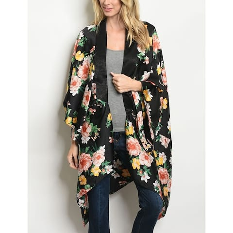 JED Women's Floral Open Front Flowy Kimono Tunic Top