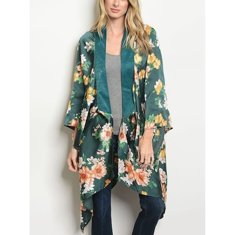 JED Women's Floral Open Front Flowy Kimono Tunic Top