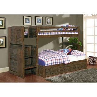 Solid Acacia Hardwood Mission Staircase Twin over Full Bunkbed with Seven Drawers in Chestnut