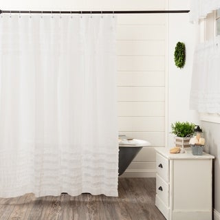 White Shower Curtain Rod.White Farmhouse Bath Vhc White Ruffled Sheer Petticoat Shower Curtain Rod Pocket Cotton Solid Color Ruched Ruffle Sheer Overstock Com Shopping The
