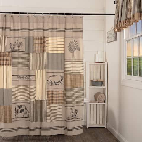 Grey Farmhouse Bath VHC Sawyer Mill Shower Curtain Rod Pocket Cotton Nature Print Stenciled Chambray