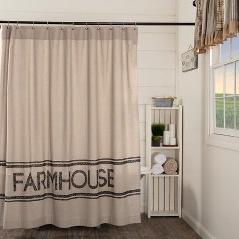 Tan Farmhouse Bath VHC Sawyer Mill Shower Curtain Rod Pocket Cotton Text Stenciled Chambray
