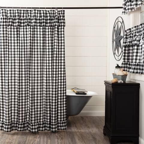 Farmhouse Bath VHC Annie Buffalo Check Shower Curtain Rod Pocket Cotton Buffalo Check