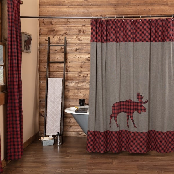 Shop Red Rustic Bath Shasta Cabin Moose Shower Curtain Rod Pocket Cotton Nature Print Appliqued Chambray
